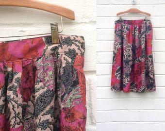 FLASH SALE! Vintage silky midi skirt / pink and green botanical / medium large