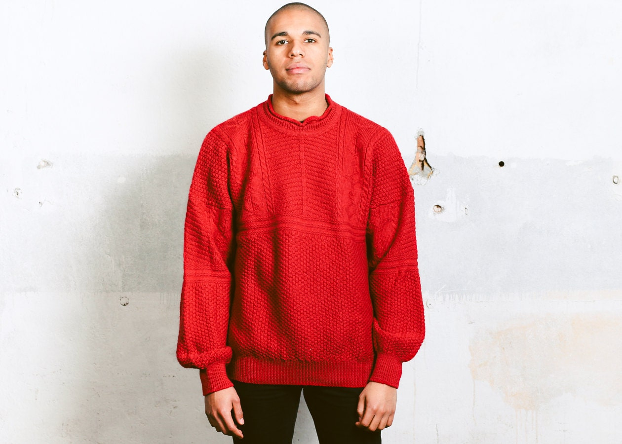 Cable Knit Sweater . Vintage 90s Red Pullover Mens Slouchy Wool ...