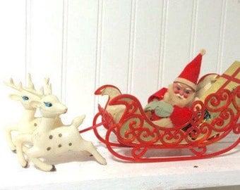 Vintage Santa in Sleigh with Reindeer