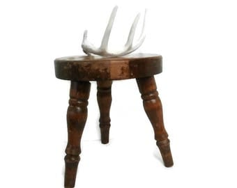 Vintage 3 Leg Wood Stool | Old Primitive Three Legged Milking Seat | Small Rustic Wooden  sc 1 st  Etsy : small wood stools - islam-shia.org