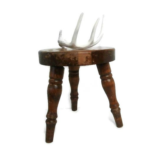 Vintage 3 Leg Wood Stool Old Primitive Three Legged Milking