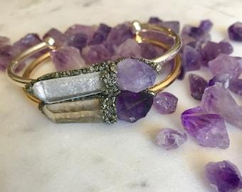 Amethyst Bracelet, february birthstone bracelet, raw gemstone bracelet, gift for her, amethyst cuff bracelet, healing crystals, pisces