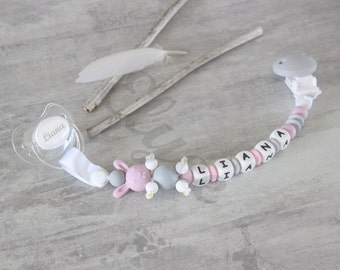 """Pacifier clip / pacifier clip / pacifier to chew beads silicone, personalized with baby's name, logo lapin """"Liana"""""""