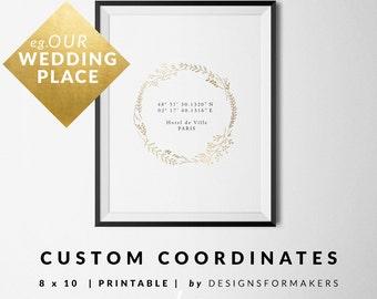 Wedding Prints - Gold Floral Wreath - Latitude Longitude Print - Custom GPS Coordinates - Valentines Day Gift - Unique Wedding Gifts - 2