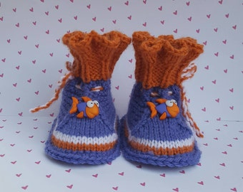 Fish Baby booties,Purple Orange  baby shoes, baby boots,baby slippers Baby Girl Boots,  Baby Girl Shoes, home coming gift, newborn gift