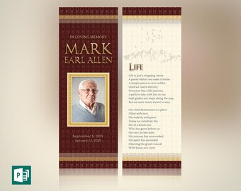 Legacy Memorial Bookmark Publisher Template