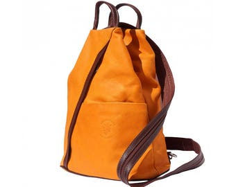 Italian Leather Backpack Shoulder Bag Handcrafted In Florence Italy in Orange & Brown 2061