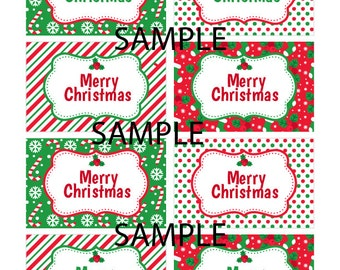 Red,White Green Christmas Tags perfect for your Holiday party, Candy Buffet, Christmas gift tags, Labels, DOWNLOADABLE and EDIT at HOME!!