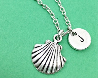 Custom clam shell necklace, sea shell charm necklace, sea shell pendant, ocean jewelry, personalized, custom, initial necklace, monogram,sea