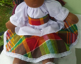 "16"" Waldorf Doll Clothes in Traditional madras plaid and white cotton fabric"