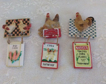 3 Chicken Magnets  Kitchen Theme   PreOwned and well loved.....