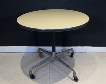 Mid Century Herman Miller Eames Side Table - Original Castors Vintage Industrial