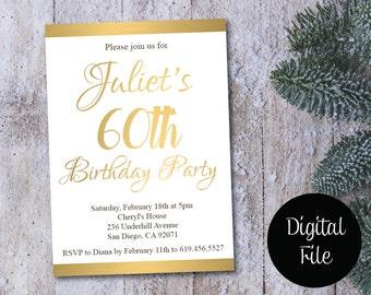 60th Birthday Invitation/Printable Gold & White Birthday Invitation/e-card invitation/Template/Birthday Invitation/sixtieth birthday