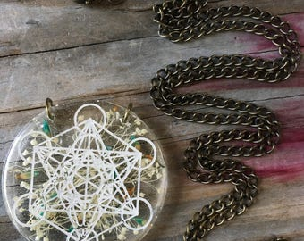 Metratons Cube Necklace with Natural Dried Flowers