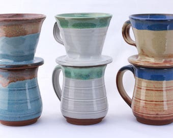 Drip Coffee Pour Over Set. Pottery, pour over, coffee cone, mug and coffee cone set, ceramic, stoneware, handmade, coffee dripper