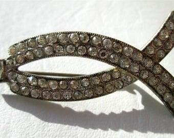 Vintage Clear Rhinestone Brooch Pin Art Deco Jesus Fish Ichthys Silver Tone C Catch