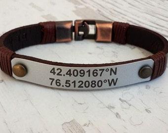 Coordinate Leather Bracelet , Mens Leather Bracelet, Customized Leather Bracelet, Men's Bracelet, Sound Wave Mens Bracelet