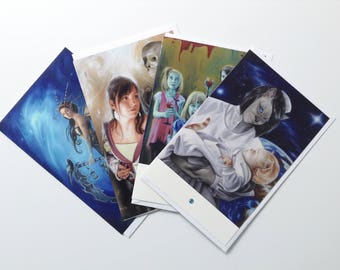 Set of 4 greeting cards: Strange worlds