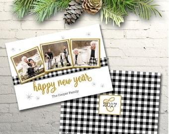 Buffalo Check New Year Photo Card