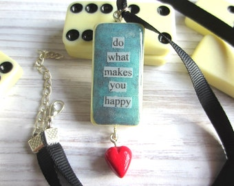 Quote Necklace, Green Necklace, Blue Necklace, Domino Art, Gift for Women, Domino Necklace, Quote Jewelry, Heart Charm, Gift for Her,