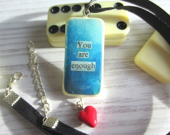 Domino Quote Necklace, Handmade Necklace, Domino Pendant, Motivational Quote Jewelry, Cute Necklace, Blue Necklace, Gift for Women, OOAK