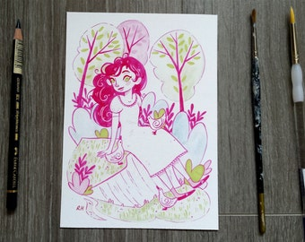 Princess and the Ducks Limited Edition Glicee Print - Woodland - Duck - Pink - Tree - Fairy Tale - Leaves - Cute
