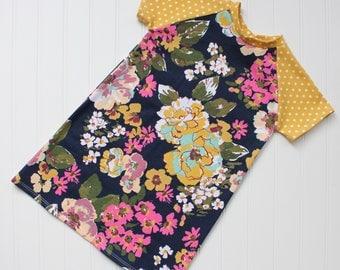 Floral dot baseball tee dress - t shirt dress, tee shirt dress, floral dress, jersey knit dress, girls dress, summer dress, navy dress