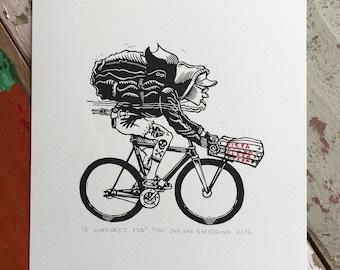 A Workday's End // Original linocut print