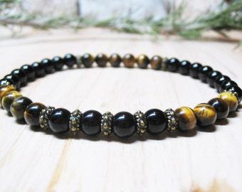 Mens Bracelet Black Onyx Bracelet Tiger Eye Bracelet Power Bracelet Protection Bracelet Spiritual Bracelet Mens Bead Bracelet Natural Stones