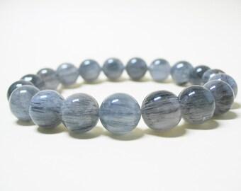 Blue Rutilated Quartz Bracelet Rutile Quartz Bracelet Mens Bracelet Unisex Bracelet Healing Bracelet Spiritual Bracelet 10mm Rutile Quartz