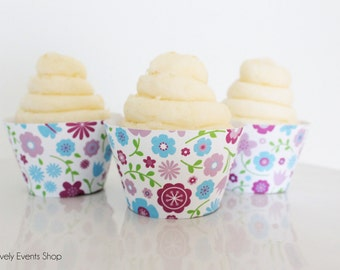 Floral Cupcake Wrappers, Flower Cupcake Wrappers, Girly Cupcake Wrappers, Mother's Day Cupcake Wrappers, Wedding -Set Of 6, 12,18,24+