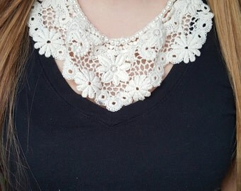 Lace Necklace, White Pear Necklace, Bridal Necklace, Gift for Women