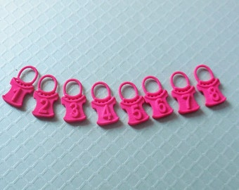 Pullover - Pink Numbered Sweater Shaped Stitch Markers in 3D Printed Plastic