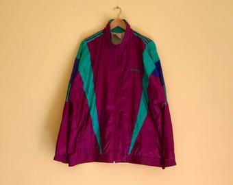 Sale Rare !! Vintage Adidas Windbreaker Multicolor Full zipper 90's styles Sz L