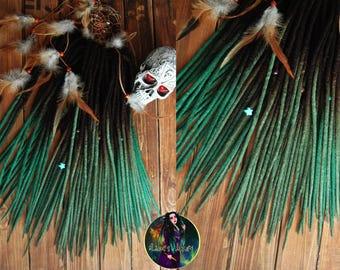 Wool ombre double ended dreadlocks DE dreads black dark emerald
