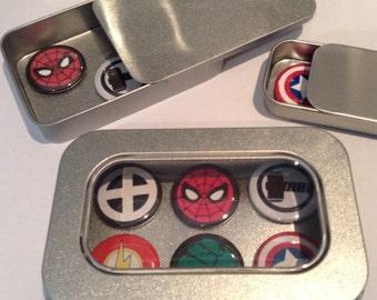 Marvel Comic Hero Fridge Magnets in Gift Tin, Incl Spider Man, 25mm Magnets, 2, 3 & 6 Magnet Sets, Gift for Him, Man Cave, Stocking Filler
