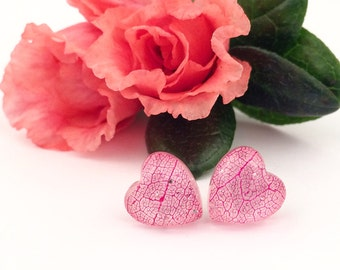 St Valentines gift, Pink heart stud earrings, Skeleton leaf earrings, Leaf vein jewelry, Pink resin studs, Resin botanical jewelry