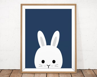 Peekaboo Animal Print, Rabbit Baby Art, Baby Rabbit Illustration, Navy Nursery Poster, Navy Kids Room Print, Blue Baby Poster, Baby Animal
