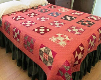 Shoo Fly Antique Quilt with Double Pink Sashing and Border