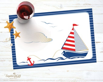 Instant download printable nautical placemat, digital sailing boat placemat, boy birthday party navy placemat, baptism luncheon placemat