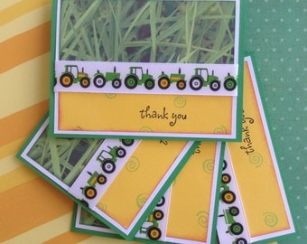 Tractor Thank You Notes, Farm Birthday Party Thank You Set