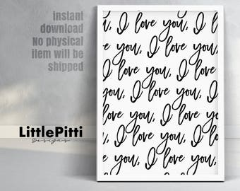 I love you, affiche scandinave, i love you print, i love you art, gift for her, wedding gift, love printable, love quote print, gift for him