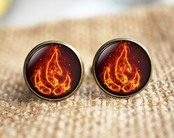 Fire Cuff Links,Avatar Fire Bender Cuff Links,hypoallergenic Cuff Links,Anime Cuff Links