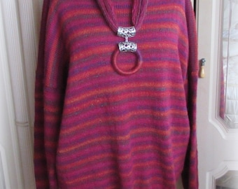 Hand Knitted Sweater – Autumn Pink Stripes with Necklace