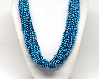 Gorgeous Estate Multi Strand Blue Glass Beaded Necklace