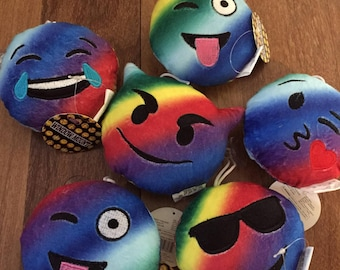 6 Emoji Mini Pillows Tie Dye Fun Face Window Mount MIni Pillows