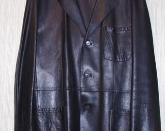 JHANE BARNES New Zeland Lamb Leather Black Mens Jacket Coat Size :48