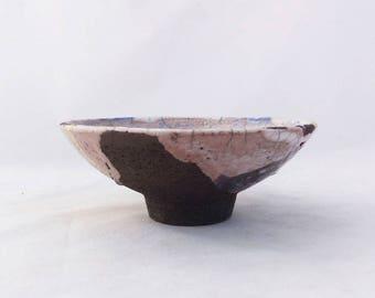 Small plate. Bowl. Raku. White and blue. Contemporary ceramics.