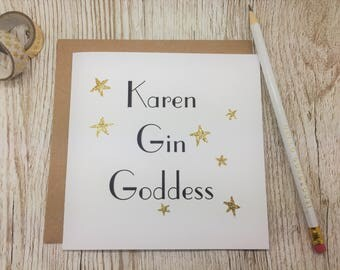 Personalised Gin Goddess Card - Card for Gin Lover - Personalised Gin Birthday Card - Frienship Gin Card