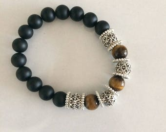 Men Black Onyx, Tiger eye bracelet